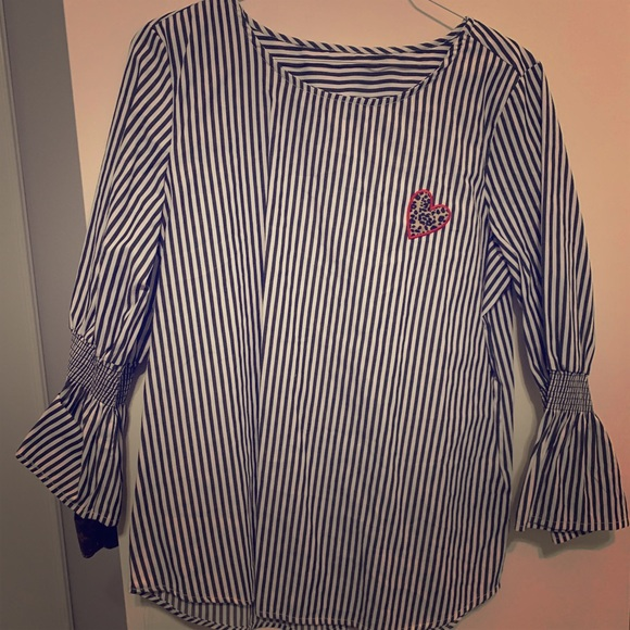Chelsea & Violet Tops - Cute striped blouse with leopard heart